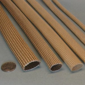high temperature heat flame resistant saturated braided fiberglass sleeve wire cable hose protection