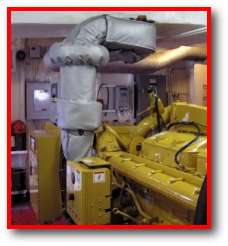 Marine engine thermal blanket protection system