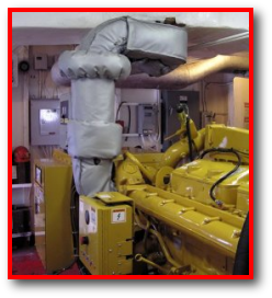 Marine engine exhaust thermal blanket removable protection system
